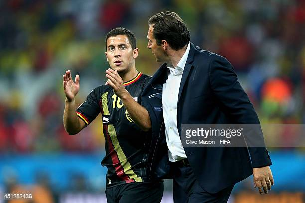 Head coach Marc Wilmots and Eden Hazard of Belgium celebrate the 10 win after the 2014 FIFA World Cup Brazil Group H match between Korea Republic and...