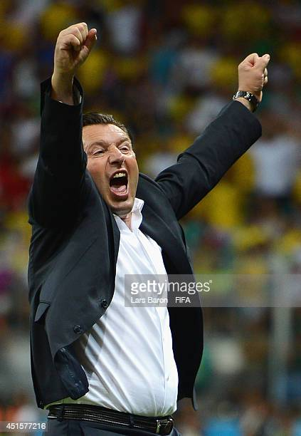 Head coach Marc Wilmots of Belgium celebrates victory after the 2014 FIFA World Cup Brazil Round of 16 match between Belgium and USA at Arena Fonte...