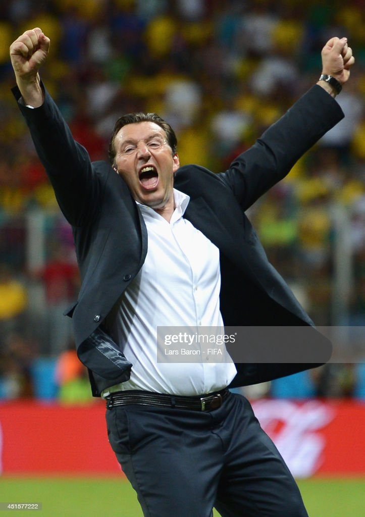 Head coach Marc Wilmots of Belgium celebrates victory after the 2014 FIFA World Cup Brazil Round of 16 match between Belgium and USA at Arena Fonte Nova on July 1, 2014 in Salvador, Brazil.