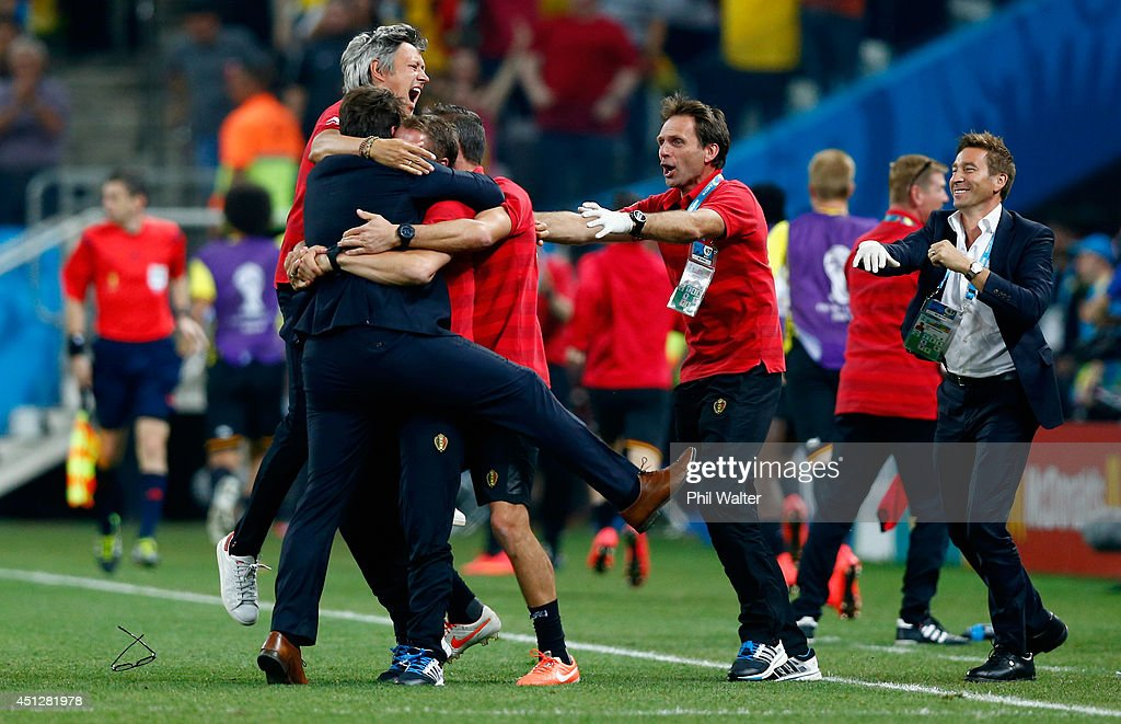 Head coach <a gi-track='captionPersonalityLinkClicked' href=/galleries/search?phrase=Marc+Wilmots&family=editorial&specificpeople=1016207 ng-click='$event.stopPropagation()'>Marc Wilmots</a> of Belgium celebrates victory in the 2014 FIFA World Cup Brazil Group H match between South Korea and Belgium at Arena de Sao Paulo on June 26, 2014 in Sao Paulo, Brazil.