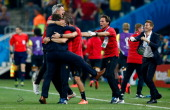 Head coach Marc Wilmots of Belgium celebrates victory in the 2014 FIFA World Cup Brazil Group H match between South Korea and Belgium at Arena de Sao...
