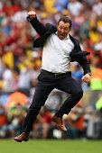 Head coach Marc Wilmots of Belgium reacts after defeating Russia 10 during the 2014 FIFA World Cup Brazil Group H match between Belgium and Russia at...