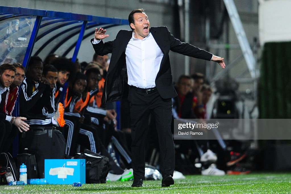 Head coach <a gi-track='captionPersonalityLinkClicked' href=/galleries/search?phrase=Marc+Wilmots&family=editorial&specificpeople=1016207 ng-click='$event.stopPropagation()'>Marc Wilmots</a> of Belgium reacts during the UEFA EURO 2016 Qualifier match between Andorra and Belgium at Estadi Nacional d'Andorra la Vella on October 10, 2015 in Andorra la Vella, Andorra.