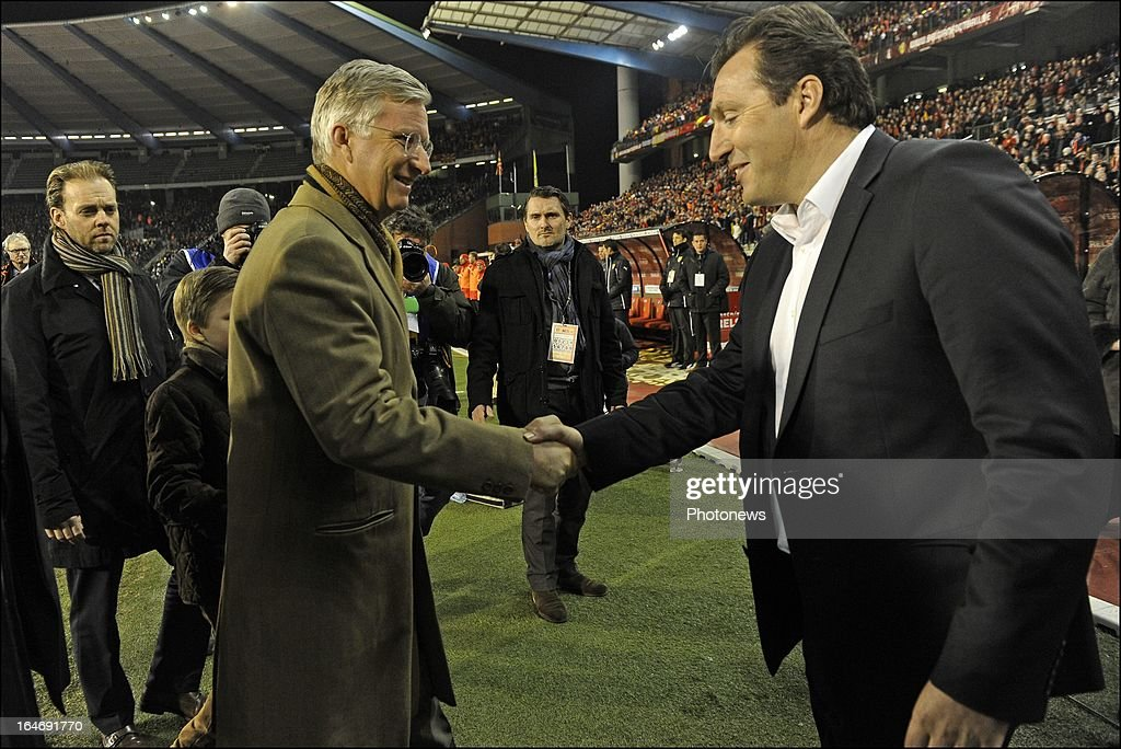 Head coach <a gi-track='captionPersonalityLinkClicked' href=/galleries/search?phrase=Marc+Wilmots&family=editorial&specificpeople=1016207 ng-click='$event.stopPropagation()'>Marc Wilmots</a> of Belgium shakes hands with Prince Philippe, Duke of Brabant before the FIFA 2014 World Cup Group A qualifying match between Belgium and Macedonia at the King Baudouin stadium on March 26, 2013 in Brussels, Belgium.