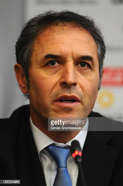 Head coach Marcel Koller of Austria looks on during the DFB Press Conference about the 2014 FIFA World Cup Qualifier Schedule at DFB headquarter on...