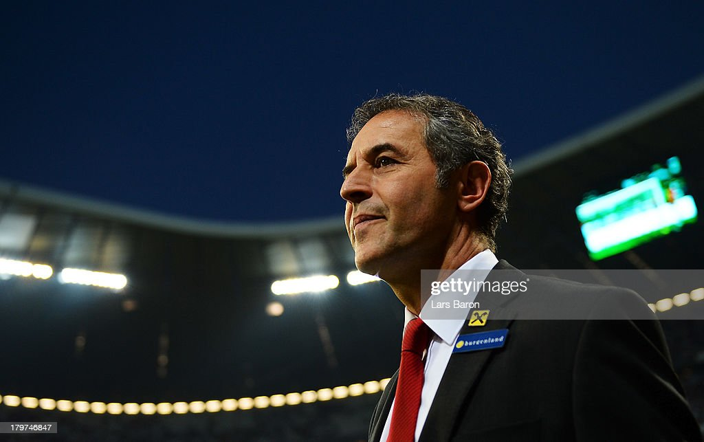 Head coach <a gi-track='captionPersonalityLinkClicked' href=/galleries/search?phrase=Marcel+Koller&family=editorial&specificpeople=535663 ng-click='$event.stopPropagation()'>Marcel Koller</a> of Austria looks on during the FIFA 2014 World Cup Qualifying Group C match between Germany and Austria>> on September 6, 2013 in Munich, Germany.