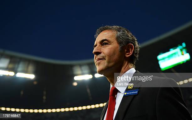 Head coach Marcel Koller of Austria looks on during the FIFA 2014 World Cup Qualifying Group C match between Germany and Austria>> on September 6...