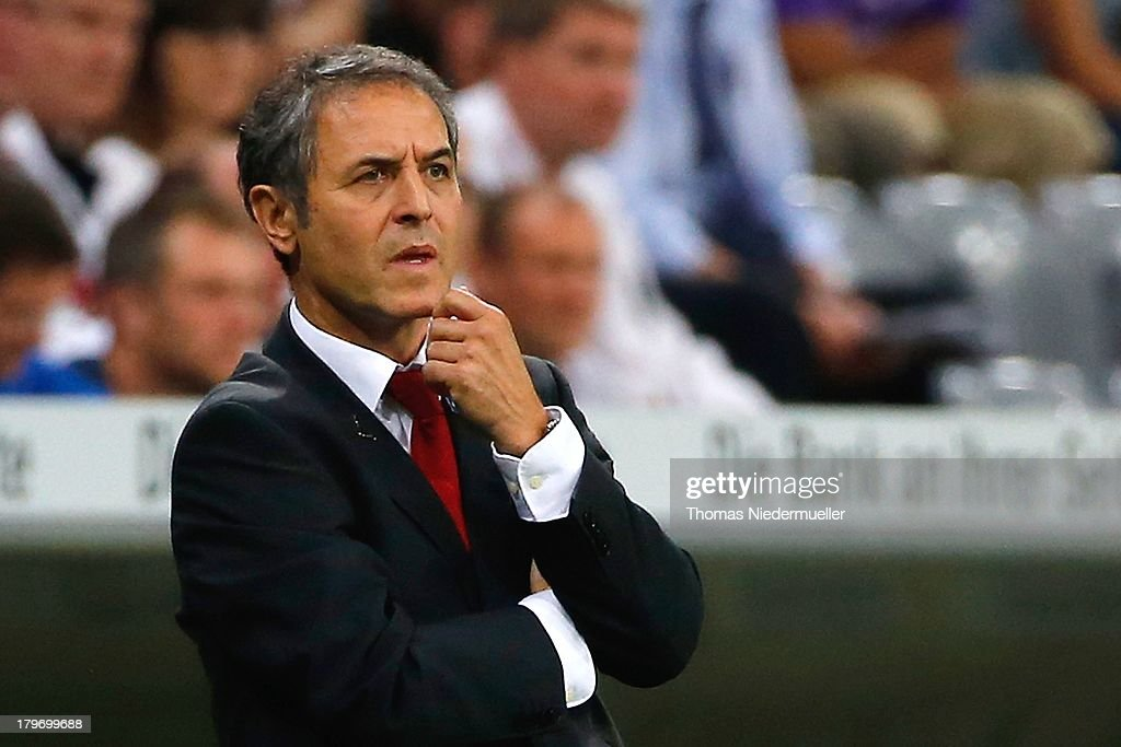 Head coach <a gi-track='captionPersonalityLinkClicked' href=/galleries/search?phrase=Marcel+Koller&family=editorial&specificpeople=535663 ng-click='$event.stopPropagation()'>Marcel Koller</a> of Austria looks on from the touchline during the FIFA 2014 World Cup Qualifying Group C match between Germany and Austria at Allianz Arena on September 6, 2013 in Munich, Germany.