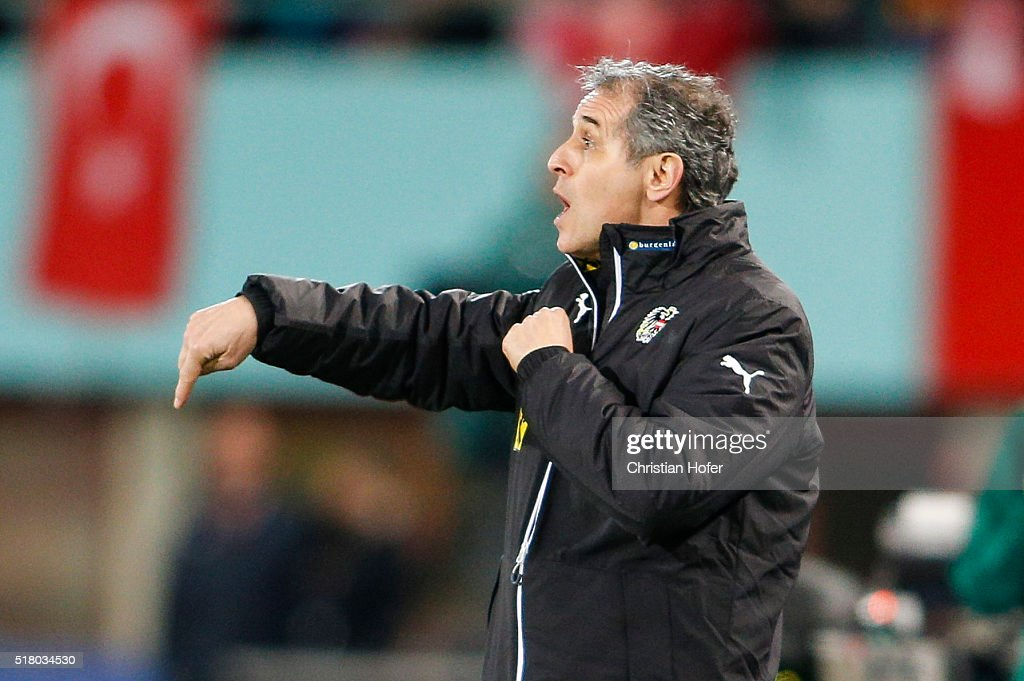Head coach Marcel Koller of Austria reacts on the touchline during the international friendly match between Austria and Turkey at Ernst-Happel-Stadium on March 29, 2016 in Vienna, Austria.