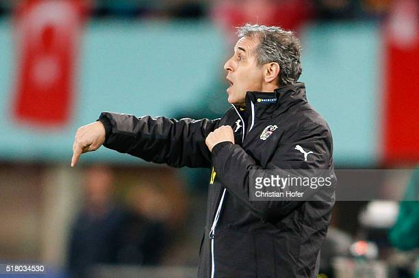 Head coach Marcel Koller of Austria reacts on the touchline during the international friendly match between Austria and Turkey at ErnstHappelStadium...