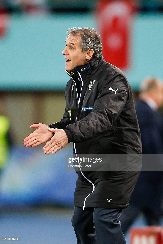 Head coach <a gi-track='captionPersonalityLinkClicked' href=/galleries/search?phrase=Marcel+Koller&family=editorial&specificpeople=535663 ng-click='$event.stopPropagation()'>Marcel Koller</a> of Austria reacts on the touchline during the international friendly match between Austria and Turkey at Ernst-Happel-Stadium on March 29, 2016 in Vienna, Austria.