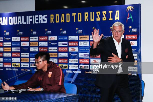 Head coach Marcello Lippi of China attends a press conference after the 2018 FIFA World Cup qualifier game between Qatar and China at Khalifa...