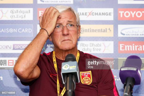 Head coach Marcello Lippi of China attends a press conference ahead of 2018 FIFA World Cup qualifier game between Qatar and China on September 4 2017...