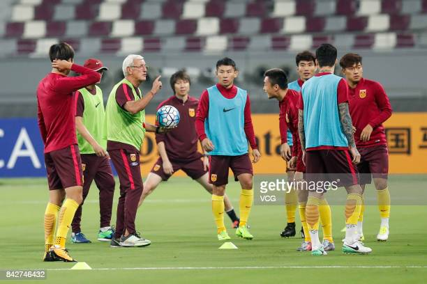 Head coach Marcello Lippi of China attends a training session ahead of 2018 FIFA World Cup qualifier game between Qatar and China on September 4 2017...