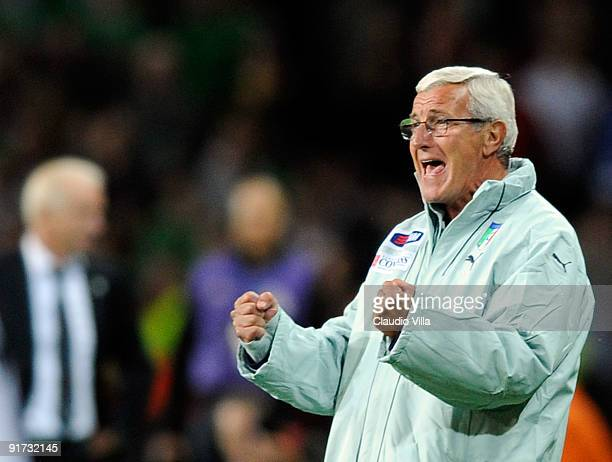 Head Coach Marcello Lippi of Italy celebrates during the FIFA 2010 World Cup Group 4 Qualifying match between Republic of Ireland and Italy at Croke...