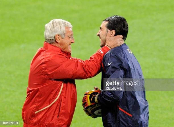 Head coach Marcello Lippi of Italy laughs with goalkeeper Gianluigi Buffon during an Italian training session at the 2010 FIFA World Cup on June 13...