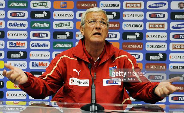 Head coach Marcello Lippi of Italy speaks with the media during a press conference at Casa Azzurri during the 2010 FIFA World Cup on June 15 2010 in...