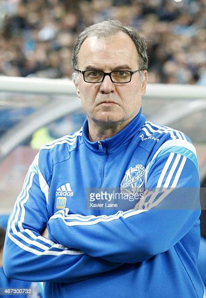 Head coach Marcelo Bielsa of Olympique de Marseille during the French Ligue 1 between RC Lens and Olympique de Marseille at Stade de France on march...