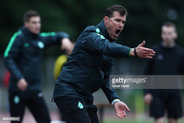 Head coach Marco Grote of Bremen gesticulated during B Juniors German Championship Semi Final between Werder Bremen and Borussia Dortmund on June 7...