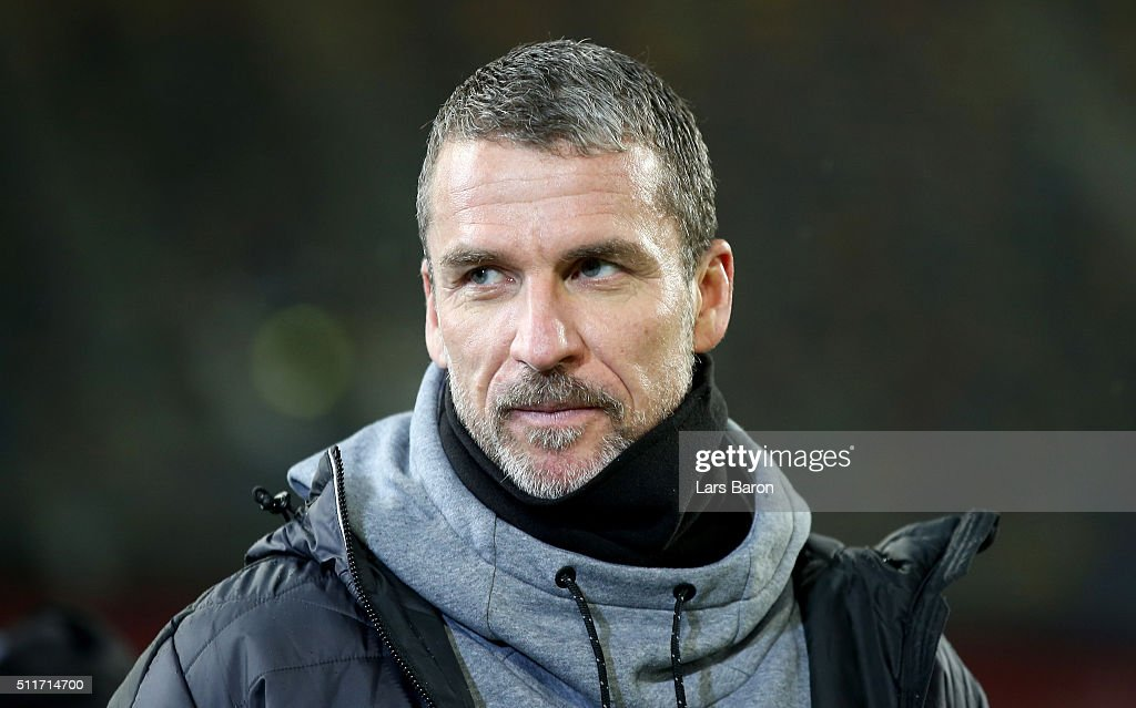 Head coach Marco Kurz of Duesseldorf is seen prior to the Second Bundesliga match between Fortuna Duesseldorf and 1 FC Nuernberg at EspritArena on...