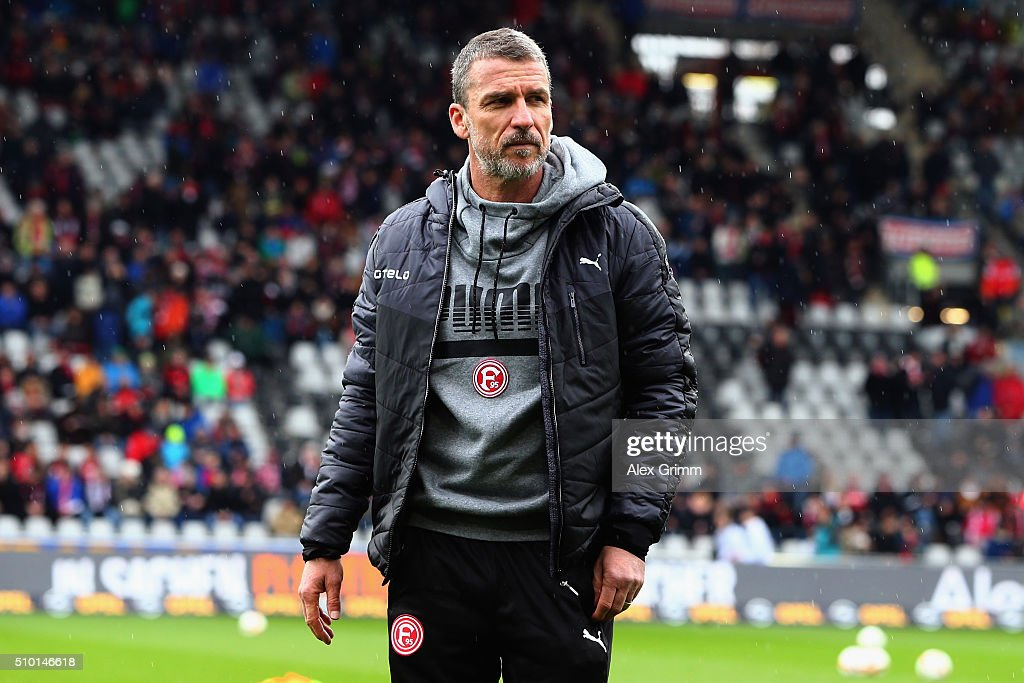 Head coach Marco Kurz of Duesseldorf looks on prior to the Second Bundesliga match between SC Freiburg and Fortuna Duesseldorf at SchwarzwaldStadion...