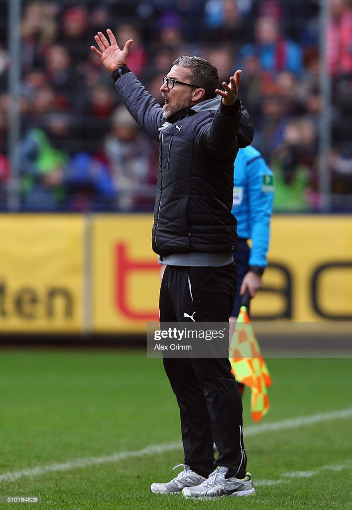 Head coach <a gi-track='captionPersonalityLinkClicked' href=/galleries/search?phrase=Marco+Kurz&family=editorial&specificpeople=2383064 ng-click='$event.stopPropagation()'>Marco Kurz</a> of Duesseldorf reacts during the Second Bundesliga match between SC Freiburg and Fortuna Duesseldorf at Schwarzwald-Stadion on February 14, 2016 in Freiburg im Breisgau, Germany.