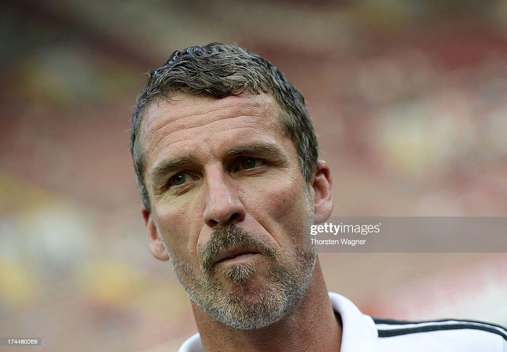 Head coach Marco Kurz of Ingolstadt looks on prior to the second Bundesliga match between 1FC Kaiserslautern and FC Ingolstadt at FritzWalter stadium...