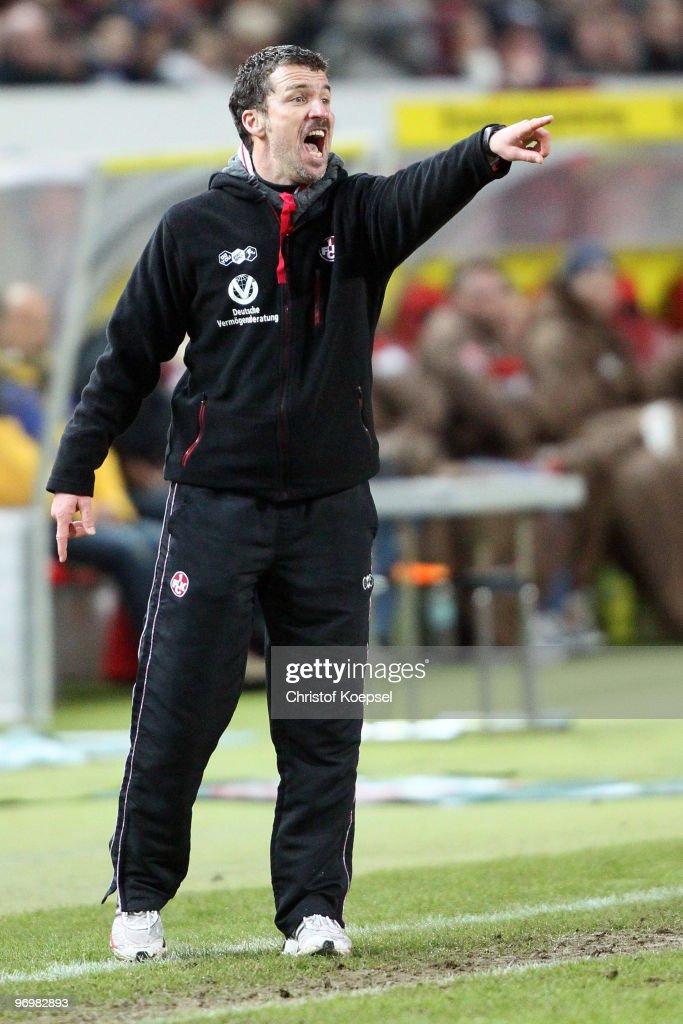 Head coach Marco Kurz of Kaiserslautern issues instructions during the Second Bundesliga match between 1FC Kaiserslautern and FC St Pauli at...
