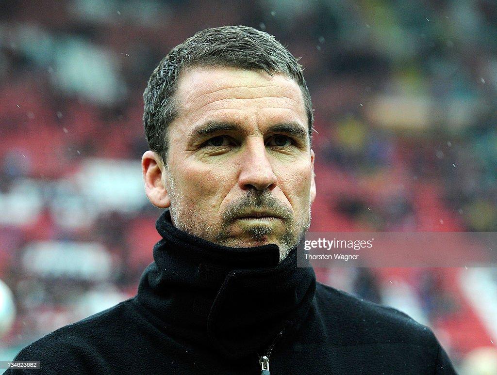 Head coach Marco Kurz of Kaiserslautern looks on prior to the Bundesliga match between 1FC Kaiserslautern and Hertha BSC Berlin at FritzWalterStadion...