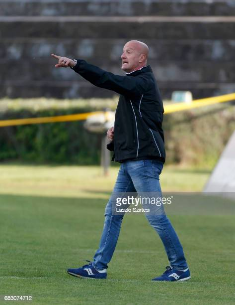 Head coach Marco Rossi of Budapest Honved instructs his players during the Hungarian OTP Bank Liga match between Budapest Honved and MTK Budapest at...