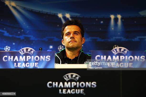 Head coach Marco Silva attends a Sporting Club de Portugal press conference ahead of their UEFA Champions League Group G match against FC Schalke 04...