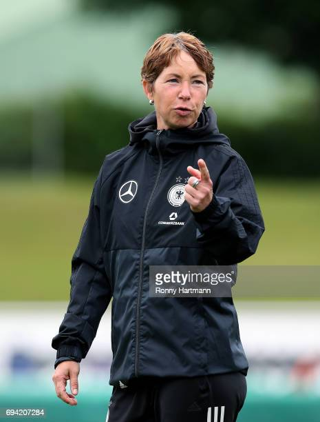 Head coach Maren Meinert of Germany gestures during the U19 women's elite round match between Germany and Switzerland at Friedensstadion on June 9...