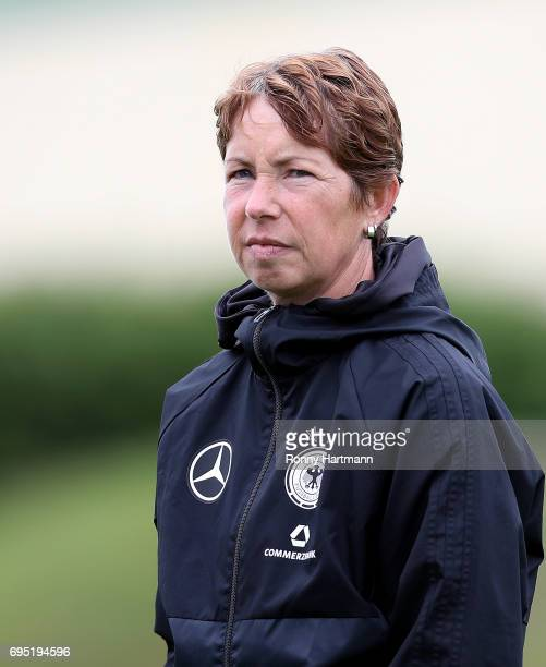 Head coach Maren Meinert of Germany looks on during the U19 women's elite round match between Germany and Switzerland at Friedensstadion on June 9...