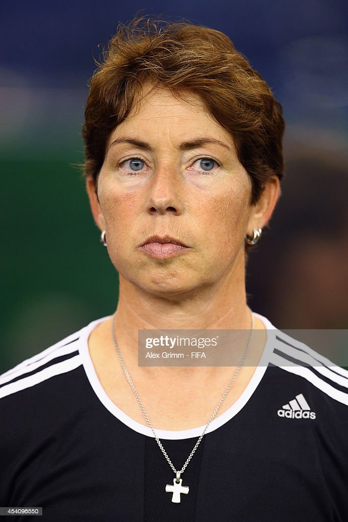 Head coach Maren Meinert of Germany looks on prior to the FIFA U-20 Women's World Cup Canada 2014 final match between Nigeria and Germany at Olympic Stadium on August 24, 2014 in Montreal, Canada.