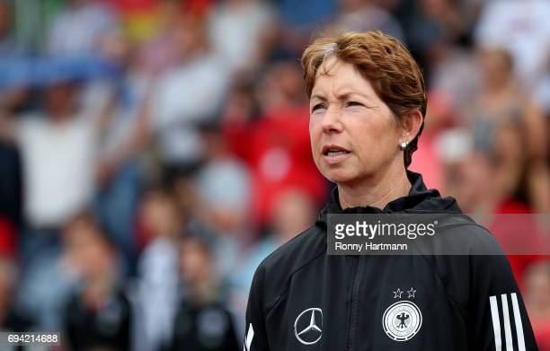 Head coach Maren Meinert of Germany looks on prior to the U19 women's elite round match between Germany and Switzerland at Friedensstadion on June 9...