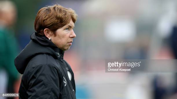 Head coach Maren Meinert of Germany looks on prior to the UEFA Under19 Women's Euro Qualifier match between Germany and Iceland at Stadium Wedau III...