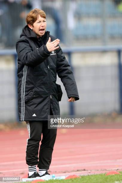 Head coach Maren Meinert of Germany shouts during the UEFA Under19 Women's Euro Qualifier match between Germany and Iceland at Stadium Wedau III on...