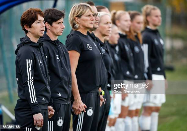 Head coach Maren Meinert of Germany sings the national anthem prior to the international friendly match between U19 Women's Serbia and U19 Women's...