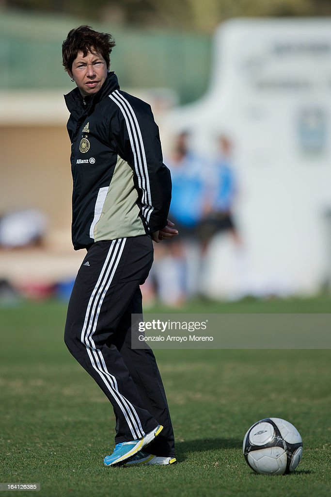 Head coach Maren Meinert of U19 Germany loooks on prior to start the Women's U19 Tournament match between U19 Norway and U19 Germany at La Manga Club ground G on March 11, 2013 in La Manga, Spain.