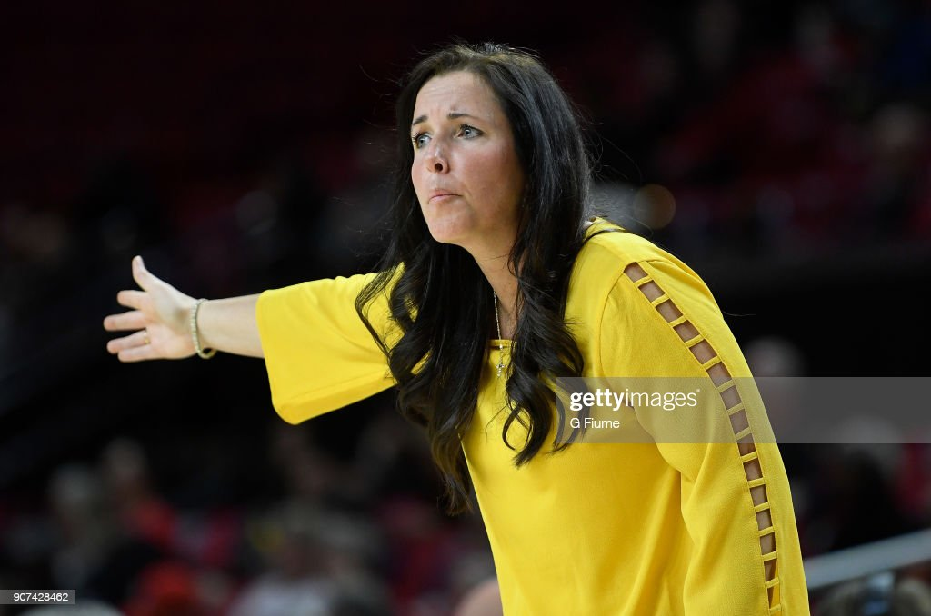 Head Coach Maria Marchesano of the Mount St. Mary's Mountaineers watches the game against the Maryland Terrapins at Xfinity Center on December 6, 2017 in College Park, Maryland.