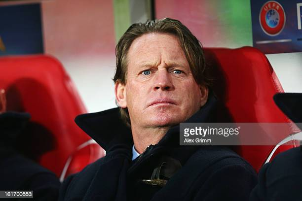Head coach Mario Been of Genk looks on prior to the UEFA Europa League Round of 32 first leg match between VfB Stuttgart and KRC Genk at MercedesBenz...