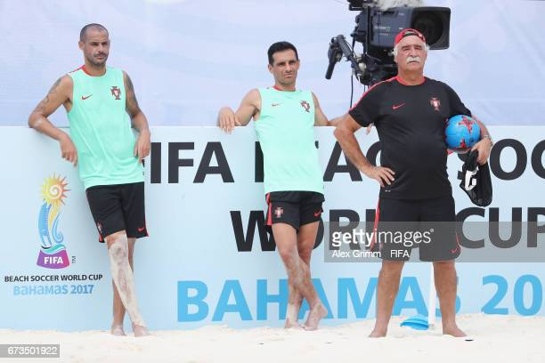 Head coach Mario Narciso Bruno Novo and Madjer look on during a Portugal training session before the FIFA Beach Soccer World Cup Bahamas 2017 at...
