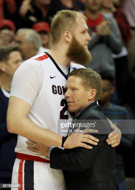 Head coach Mark Few and Przemek Karnowski of the Gonzaga Bulldogs celebrates their 83 to 59 win over the Xavier Musketeers during the 2017 NCAA Men's...