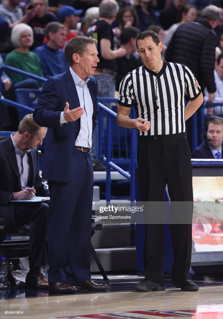 GU head coach Mark Few has a discussion with an official during the game between the Portland Pilots and the Gonzaga Bulldogs played on January 11, 2018, at McCarthey Athletic Center in Spokane, WA.