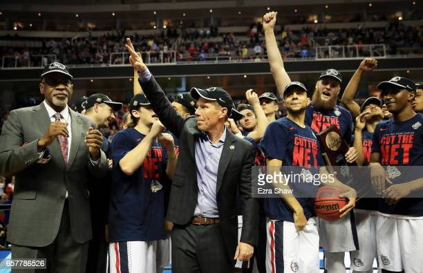 Head coach Mark Few of the Gonzaga Bulldogs and his team celebrate after their 83 to 59 win over the Xavier Musketeers during the 2017 NCAA Men's...