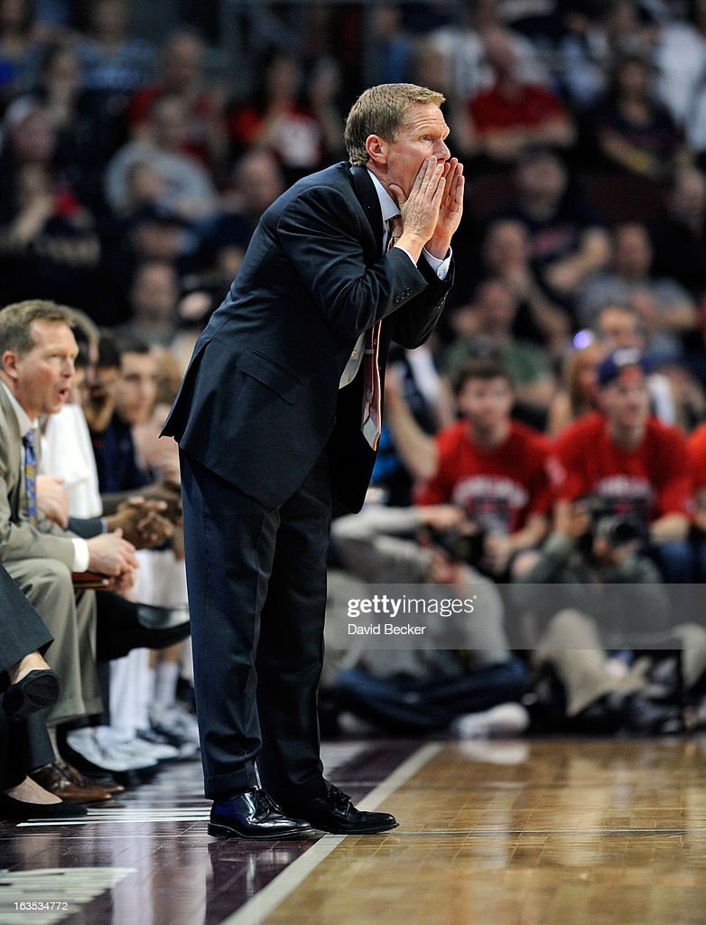 Head coach Mark Few of the Gonzaga Bulldogs calls to his team during the championship game of the West Coast Conference Basketball tournament against the Saint Mary's Gaels at the Orleans Arena March 11, 2013 in Las Vegas, Nevada. Gonzaga won 65-51.