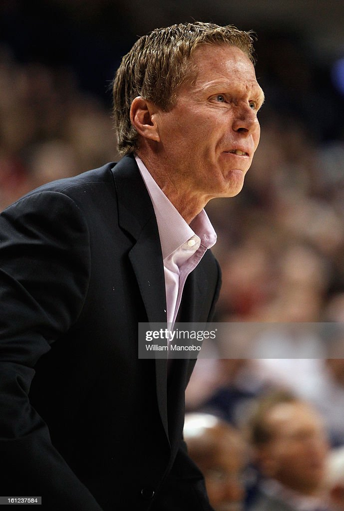 Head Coach Mark Few of the Gonzaga Bulldogs directs from the sideline against the Loyola Marymount Lions during the first half of the game at McCarthey Athletic Center on February 9, 2013 in Spokane, Washington.