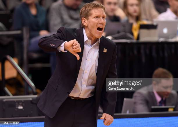 Head coach Mark Few of the Gonzaga Bulldogs gestures in the first half against the South Dakota State Jackrabbits during the first round of the 2017...