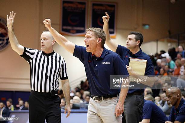 Head Coach Mark Few of the Gonzaga Bulldogs is seen directing a play during the game against the Pepperdine Waves at Firestone Fieldhouse on January...