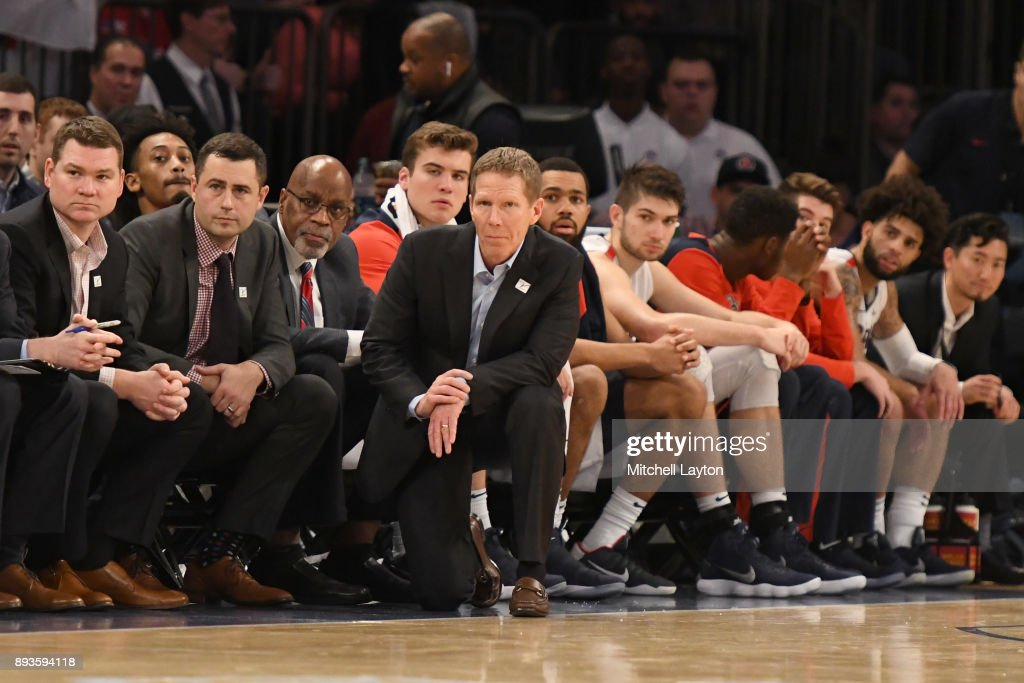 Head coach Mark Few of the Gonzaga Bulldogs looks on during the Jimmy V Classic college basketball game against the Villanova Wildcats at Madison Square Garden on December 5, 2017 in New York City. The Wildcats won 88-72.